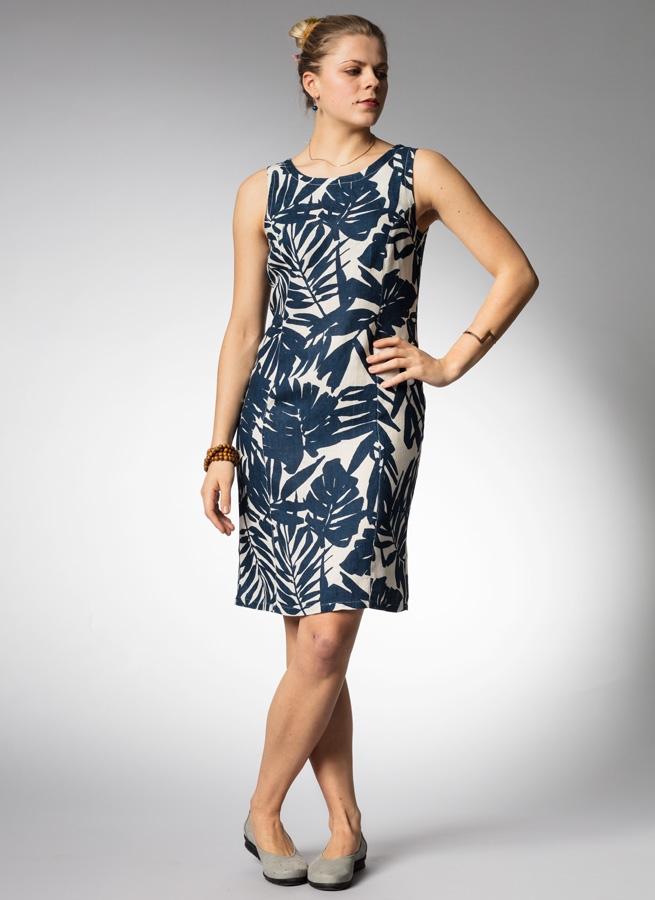 7d88c42f0786 Mönstrad blå, vit linneklänning, klassisk fodralklänning. Ärmlös